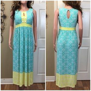 Pretty Mint yellow patterned maxi dress